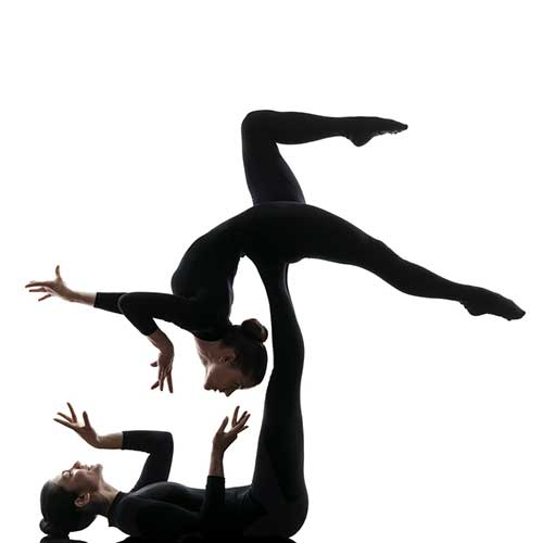 two acrobatic dancers in pose