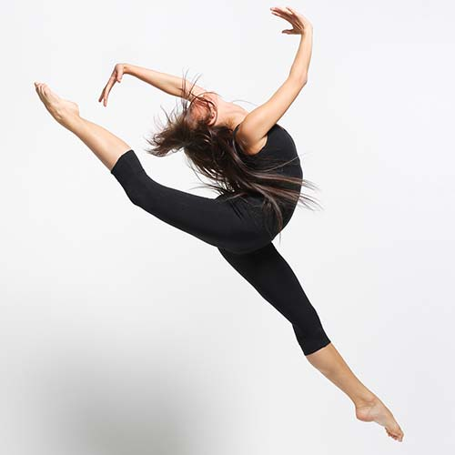 jazz dancer leaping in air