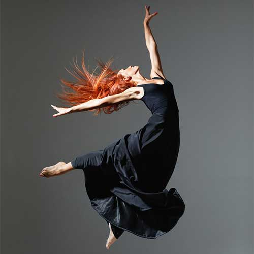 modern dancer leaping